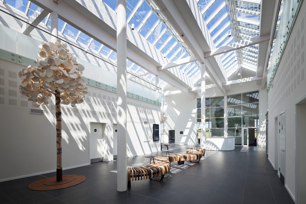 Roof skylight letting natural light into the green solution house in Bornholm